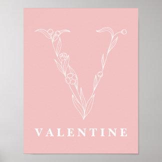 V植物の花のモノグラムのカスタムな子供部屋ポスター ポスター