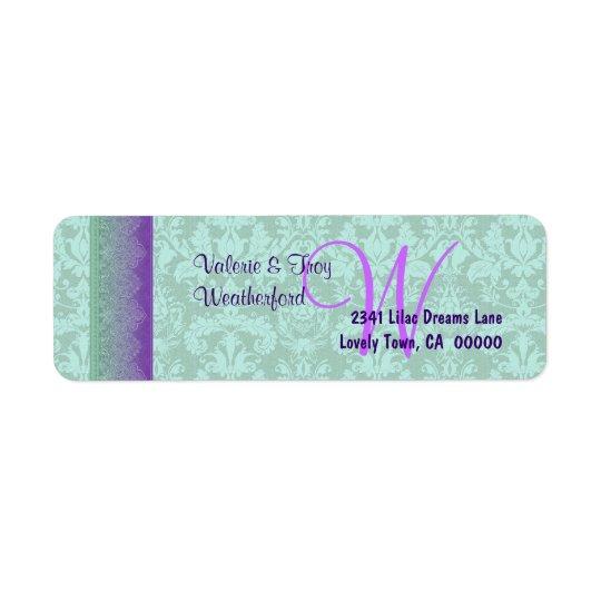 V014を結婚する緑および紫色のダマスク織のモノグラム ラベル