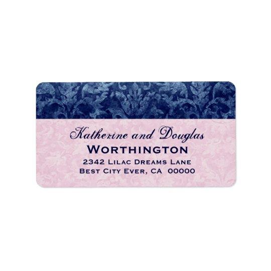 V5を結婚する濃紺およびピンクのグランジなダマスク織 宛名ラベル