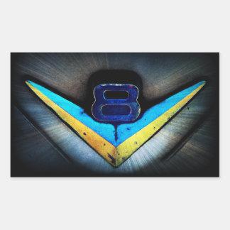 V8の紋章の芸術 長方形シール