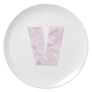 V -低い多三角形-中立ピンクの紫色の灰色 プレート