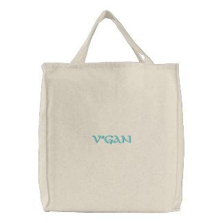 V*ganのカスタムによって刺繍されるバッグ 刺繍入りトートバッグ