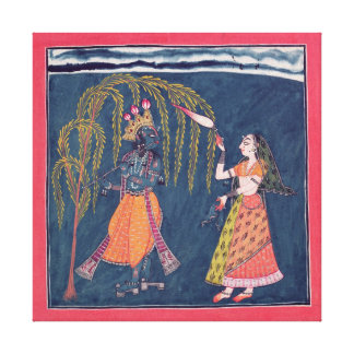 「Vahulaからのフルートを、演奏するKrishna キャンバスプリント
