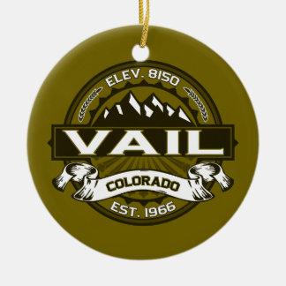 Vailのロゴのオリーブ セラミックオーナメント