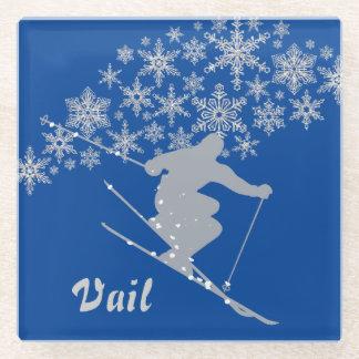 Vailの青い銀製のスキーヤー ガラスコースター