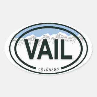 Vailコロラド州のロッキー山脈のラベル 楕円形シール