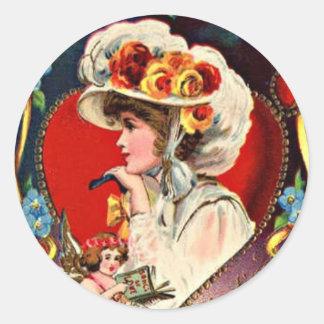 Valentineエレガントな女性 ラウンドシール