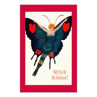 Valentineヴィンテージの蝶女性 便箋