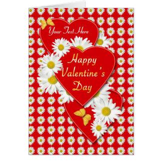 Valentine日のデイジーおよびハートカード カード
