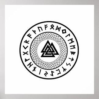 Valknut - Wotansの結び目- OdinのRune ポスター