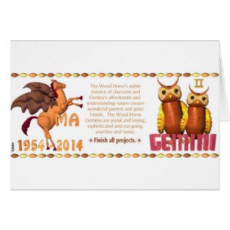 ValxArtの(占星術の)十二宮図のジェミニインの木製の馬1954 2014年 カード