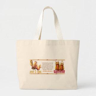ValxArtの(占星術の)十二宮図の木製のオンドリの生まれるジェミニ1945 2005年 ラージトートバッグ