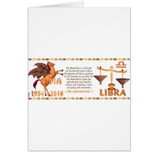 ValxArtの(占星術の)十二宮図の木製の馬の生まれる天秤座1954 2014年 カード