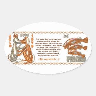ValxArtの(占星術の)十二宮図の魚類の木製犬1970 2030年 楕円形シール