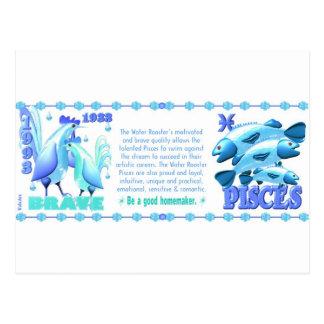 ValxArtの(占星術の)十二宮図水オンドリ魚類1933 1993年 ポストカード