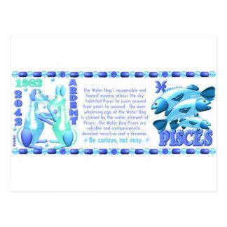 ValxArtの(占星術の)十二宮図水犬魚類は1922 1982年を生まれます ポストカード