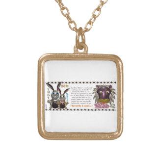 Valxart 1951 2011 MetalRabbitの2071年の(占星術の)十二宮図レオ ゴールドプレートネックレス