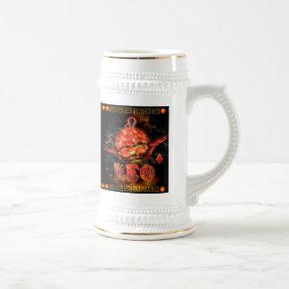 Valxart.com著ゴシック様式(占星術の)十二宮図の蟹座レオ ビールジョッキ