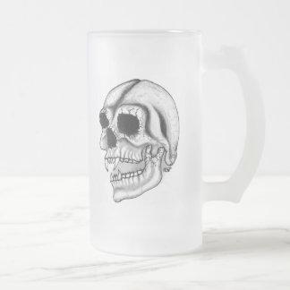 Vampirのスカルの白黒デザイン フロストグラスビールジョッキ