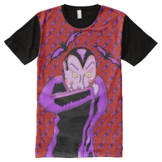 Vampire Halloween Panel T-Shirt オールオーバープリントT シャツ