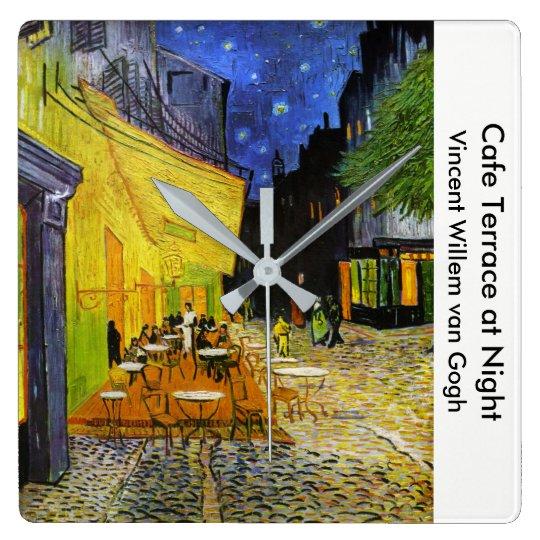 "Van Gogh , ""Cafe Terrace at Night"" スクエア壁時計"