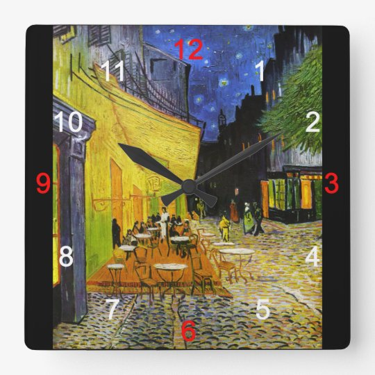 "Van Gogh , ""Cafe Terrace at Night"" スクエア壁時計"