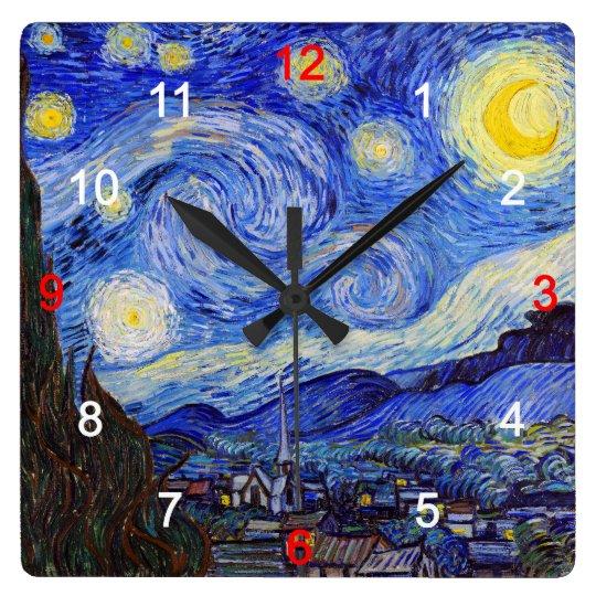 "Van Gogh , ""Starry Night"" スクエア壁時計"