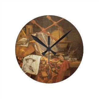 Vanitas (キャンバスの油) ラウンド壁時計