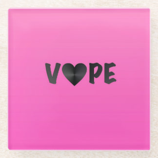 Vapeのかわいらしいピンクの黒いハート ガラスコースター