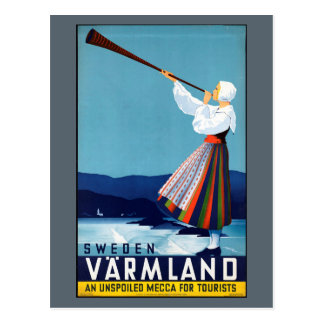 Varmlandのスウェーデンのヴィンテージ旅行ポスター ポストカード