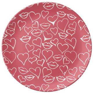 vdayアートな唇およびハート 磁器プレート
