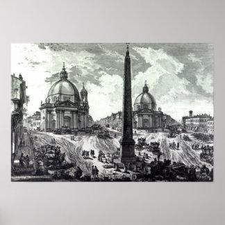 Vedutaのdella Piazza del Popolo、c.1750 ポスター