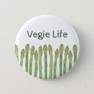 Vegieの生命アスパラガスボタン 5.7cm 丸型バッジ
