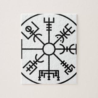 vegvisirのバイキングの記号のNorseの盾Odin ジグソーパズル