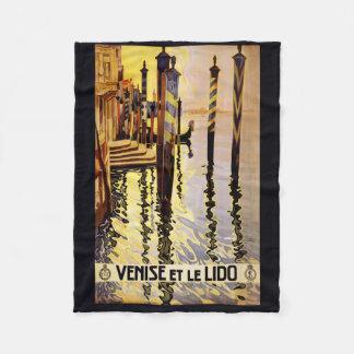"""""""Veniseとle Lido""""イタリアのヴィンテージ旅行フリース フリースブランケット"""