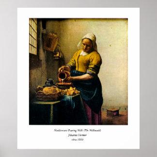 VermeerのMaidservantの注ぐミルク(1660年頃) ポスター