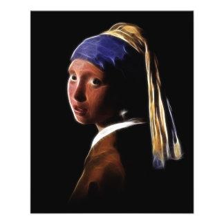 Vermeerを絵を描いている真珠のイヤリングデジタルを持つ女の子 チラシ