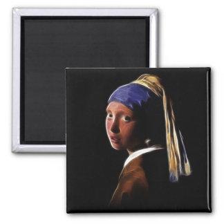 Vermeerを絵を描いている真珠のイヤリングデジタルを持つ女の子 マグネット
