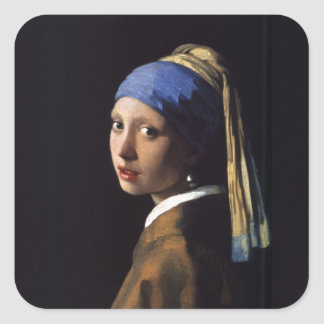 Vermeer著真珠のイヤリングの絵画の女の子 スクエアシール