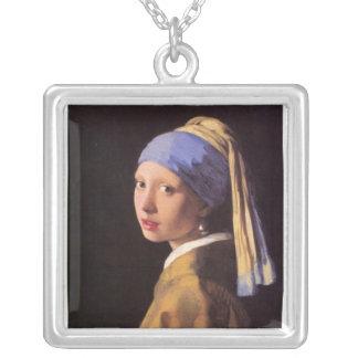 Vermeer著真珠のイヤリングを持つ女の子 シルバープレートネックレス