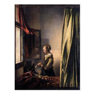Vermeer著開いているウィンドウの女の子の読書手紙 ポストカード
