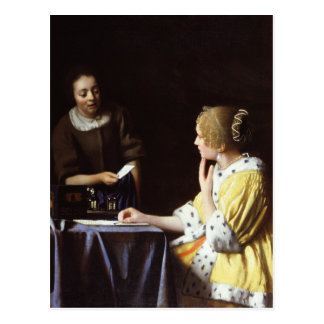 Vermeer -主婦および女中1666-67年 ポストカード