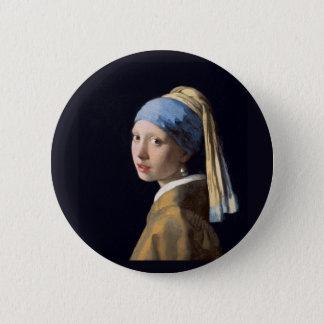 Vermeer -真珠のイヤリングを持つ女の子 5.7cm 丸型バッジ