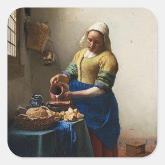 Vermeer Milkmaidのステッカー スクエアシール