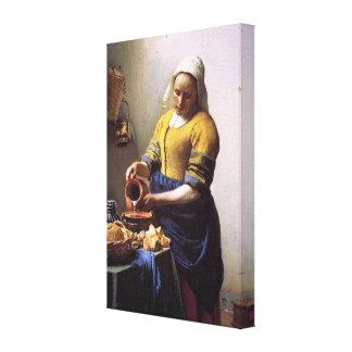 Vermeer Milkmaidの包まれたなキャンバス キャンバスプリント