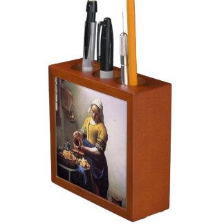 Vermeer Milkmaidの机のオルガナイザー ペンスタンド