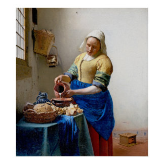 Vermeer - Milkmaid -ヴィンテージの芸術 ポスター