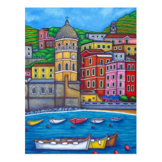 VernazzaのCinque Terreの郵便はがきの色 ポストカード