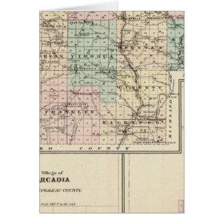 Vernon郡、アルカディアおよびViroquaの地図 カード