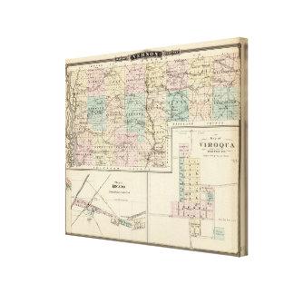 Vernon郡、アルカディアおよびViroquaの地図 キャンバスプリント